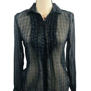 American Eagle Outfitters Sheer Plaid Blouse